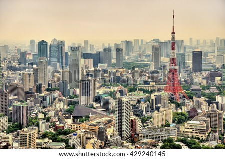Aerial view of Tokyo with Tokyo Tower - Japan - stock photo