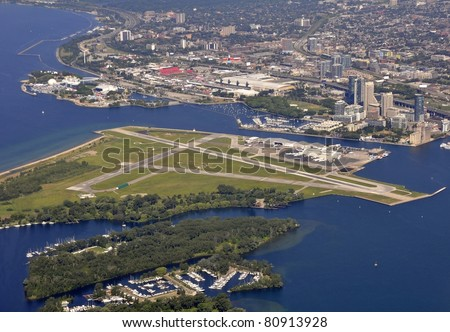 aerial view of Toronto's Lakeshore, view of Airport and  the Indy Toronto Racetrack in the background - stock photo