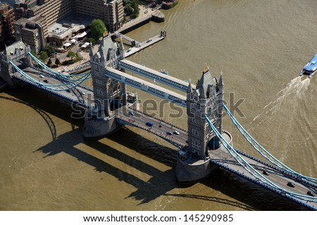 aerial view of Tower Bridge across the Thames in central London