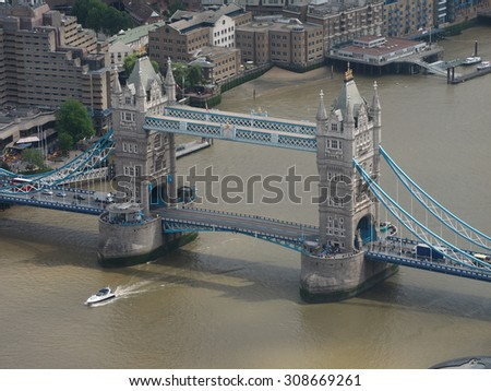 Aerial view of Tower Bridge in London, UK - stock photo