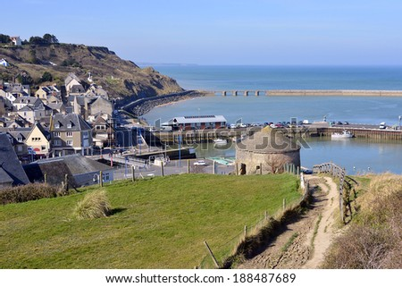 Aerial view of town of Port-en-Bessin with Vauban tower, a commune in the Calvados department in the Basse-Normandie region in northwestern France. - stock photo