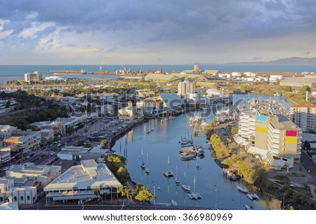 aerial view of Townsville in the evening - stock photo