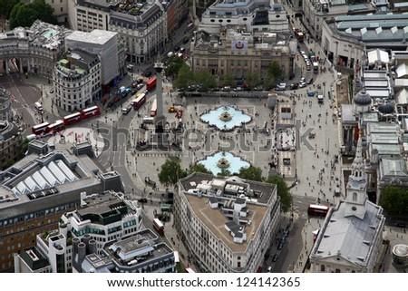 aerial view of Trafalgar Square in London - stock photo