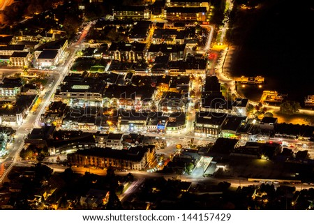 Aerial View of Transportation light trail of Queenstown, New Zealand - stock photo