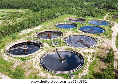 Aerial view of treatment of industrial wastewater - stock photo