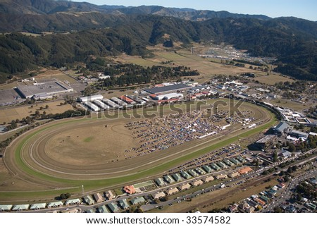 Aerial view of Trentham raceway on a sunny day - stock photo