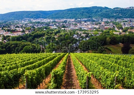 Aerial view of Trier, Germany - stock photo