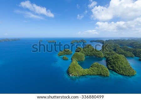 Aerial view of tropical islands with copy space, Palau, Micronesia - stock photo