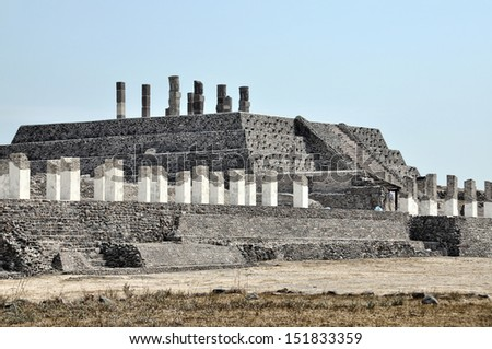 Aerial view of Tula Ruins, Mexico with Toltec Statues - stock photo
