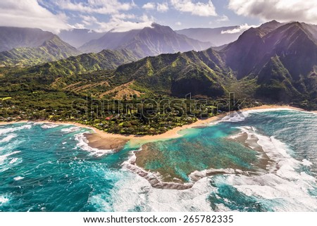 Aerial view of Tunnels beach, Kauai - stock photo