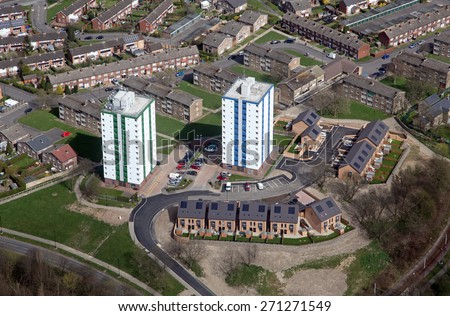 aerial view of two blocks of flats in Sheffield, and new housing - stock photo