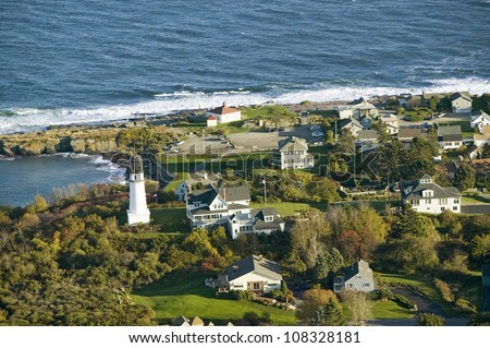 Aerial view of Two Lights Lighthouse on the oceanfront in Cape Elizabeth, Maine coastline south of Portland - stock photo