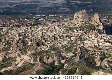 Aerial view of Uchisar Castle in Nevsehir, Turkey