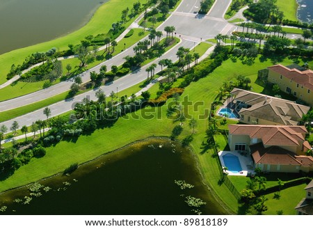 aerial view of upscale suburban florida residential area - stock photo
