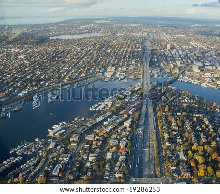Aerial view of urban area and canal - stock photo