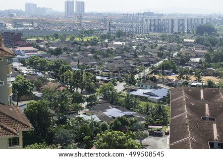 Aerial view of urban mix development and architecture landscape in Johor Bahru city, Malaysia