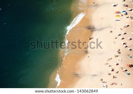 Aerial view of Urca beach and neighborhood homes, Rio de Janeiro, Brasil. - stock photo