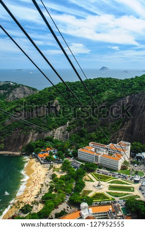 Aerial view of Urca neighborhood of Rio de Janeiro viewed from summit of Sugarloaf mountain with cable car lines in foreground, Brasil. - stock photo
