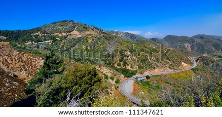 Aerial view of US Highway to Big bear lake - stock photo