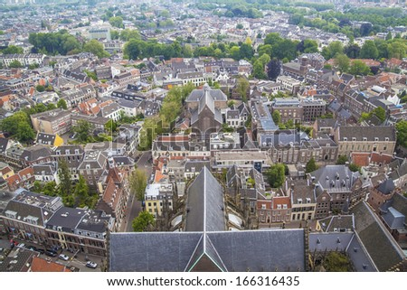 Aerial View of Utrecht, A Dutch City in the Netherlands