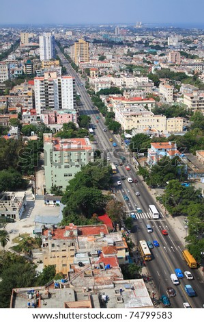 Aerial view of Vedado Quarter in Havana, Cuba. - stock photo