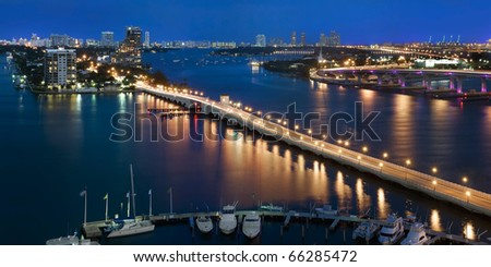 Aerial view of Venetian Causeway and Biscayne Bay in Miami Florida. - stock photo