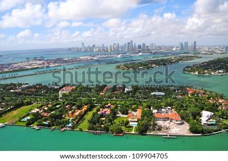 Aerial view of Venetian Islands & Miami Skyline, Florida, USA - stock photo