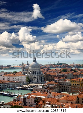 aerial view of Venice city from the top of the bell tower at the San Marco Square - stock photo