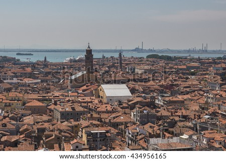 Aerial view of Venice city from the top of the bell tower at the San Marco Square, Italy - stock photo