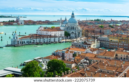 Aerial view of Venice, Grand canal, Basilica Santa Maria della Salute. Italy - stock photo