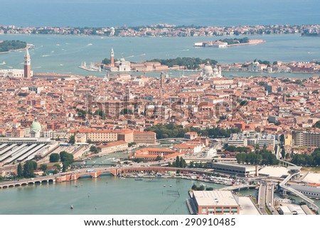 Aerial view of Venice in northern Italy