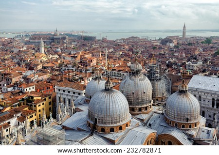 Aerial view of Venice with St. Mark's cathedral, Italy - stock photo