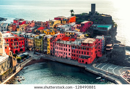 Aerial view of Vernazza - small italian town in famous Cinque Terre on Mediterranean Sea in Liguria, Italy. - stock photo