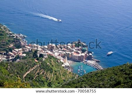 Aerial view of Vernazza village on Cinque Terre coastline, Italian Riviera, Liguria - stock photo