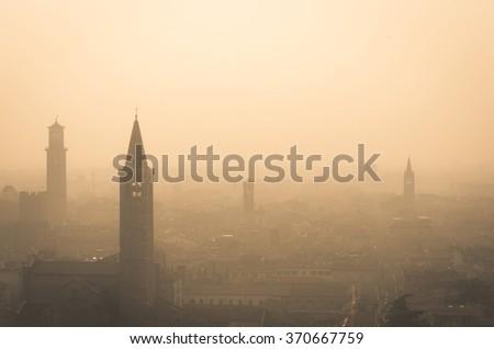 Aerial view of Verona in a foggy day - Verona, Italy - stock photo