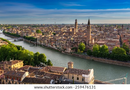 Aerial view of Verona. Italy - stock photo