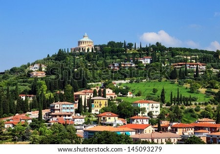 Aerial view of Verona, Italy, Europe - stock photo