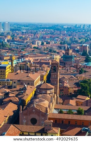 Aerial view of Via zamboni and ist neighborhood including Basilica di San Giacomo Maggiore and a business district in the italian city Bologna.