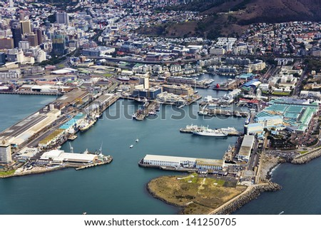 Aerial view of Victoria & Alfred (V&A) Waterfront, Cape Town, South Africa - stock photo