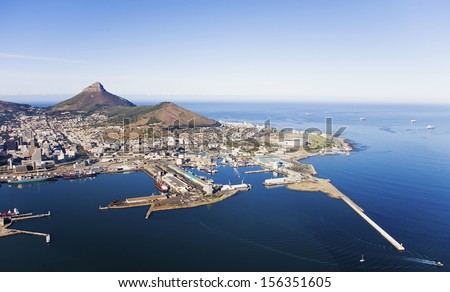Aerial view of Victoria & Alfred Waterfront and Cape Town Harbour with Lion's Head and Signal Hill, Cape Town, South Africa - stock photo