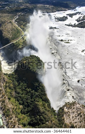 Aerial view of Victoria Falls taken from over Zambia looking towards Zimbabwe - stock photo