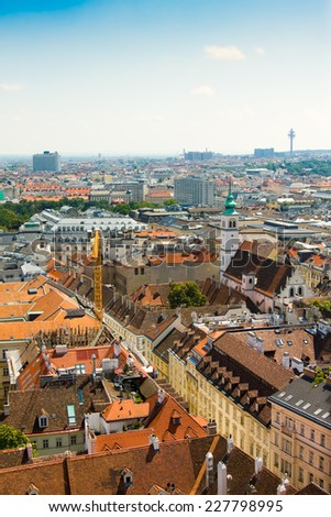 Aerial view of Vienna as seen from the Saint Stephan (Stephansdom) cathedral, Austria