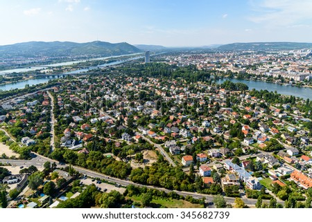 Aerial View Of Vienna City Skyline - stock photo