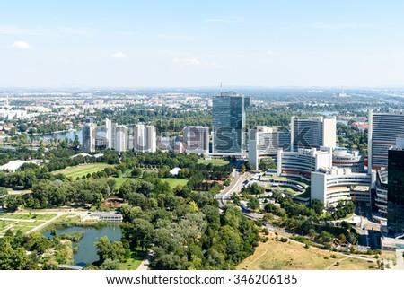 Aerial View Of Vienna City Skyline - stock photo