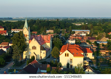 Aerial view of village Cifer - stock photo