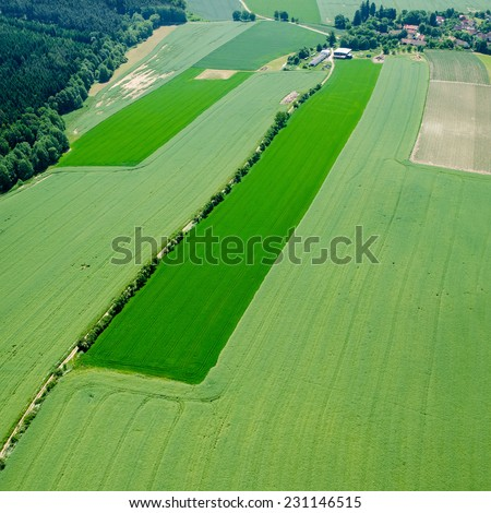 aerial view of village road and agriculture fields with forest - stock photo
