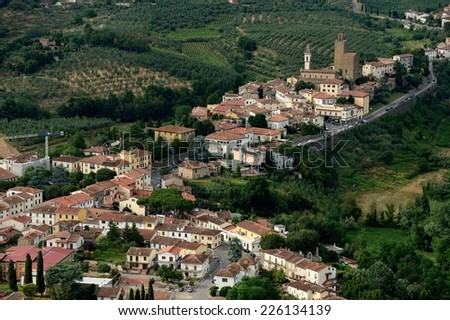 aerial view of Vinci, Tuscany-Italy
