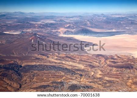 aerial view of volcanoes in Atacama desert, Chile - stock photo