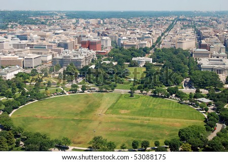 Aerial view of  Washington DC with The White house from Washington Monument - stock photo