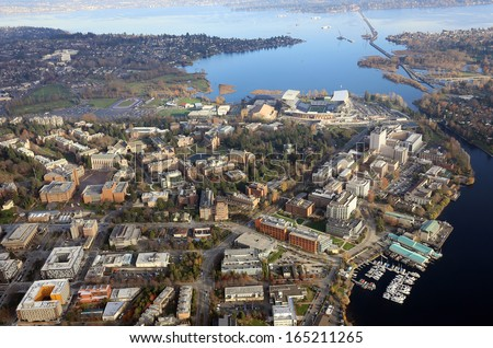 Aerial view of Washington University in Seattle and the University District - stock photo